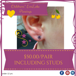 Childrens Standard Lobe Piercings